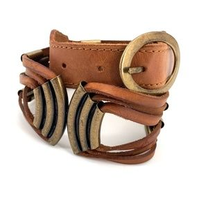 Lucky Penny leather and brass boho brown belt S